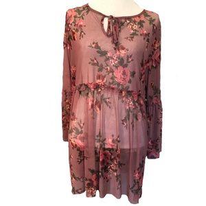 Women's plus sz 3x sheer pink floral top shirt